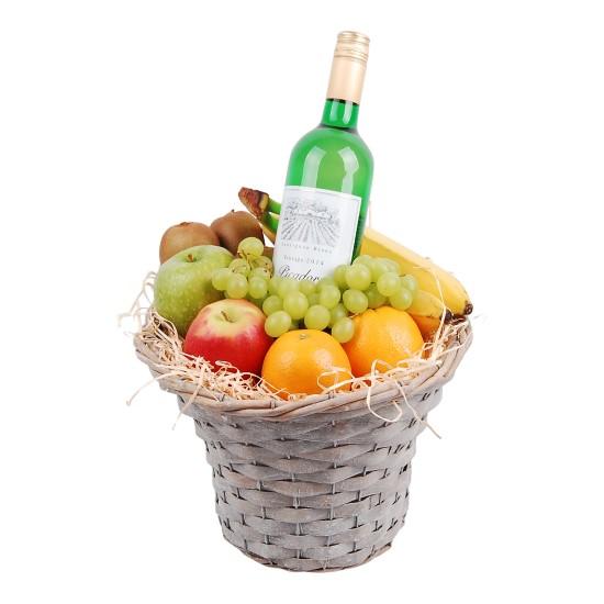 Fruitmand hoog met Witte wijn bestellen